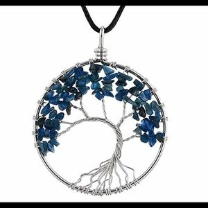 Blue stone silver Tree of life necklace